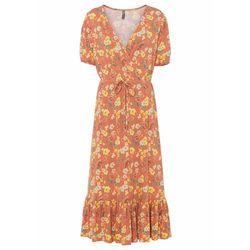 Sukienka midi z dżerseju z przyjaznej dla środowiska wiskozy bonprix matowy mandarynkowy w kwiaty