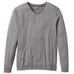 Sweter z kaszmirem i dekoltem w serek, Regular Fit bonprix dymny szary