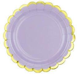 Talerzyki liliowe ze złotymi brzegami - 18 cm - 6 szt.