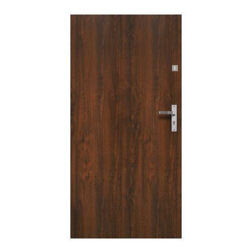 Drzwi zewnętrzne, Drzwi zewnętrzne stalowe Jowisz Gładki 90 lewe orzech