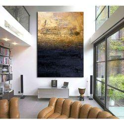"""obrazy nowoczesne """"granatowa toń ze złotem"""" ręcznie malowane w technice strukturalnej duży 100x150cm rabat 10%"""