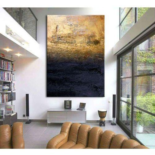 """Obrazy, obrazy nowoczesne """"granatowa toń ze złotem"""" ręcznie malowane w technice strukturalnej duży 100x150cm rabat 15%"""