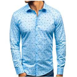 Koszula męska we wzory z długim rękawem błękitna 201G24