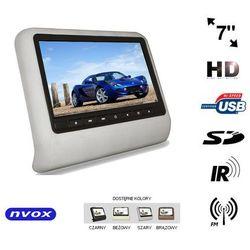"NVOX VR7017HD GR Monitor samochodowy zagłówkowy LCD 7"" cali LED HD DVD USB SD IR FM GRY 12V"