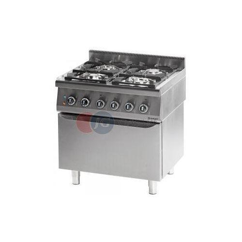 Piece i płyty grzejne gastronomiczne, Kuchnia gazowa 4-palnikowa z piekarnikiem elektrycznym 24+7 kW Stalgast 971633