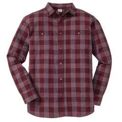 Koszula z długim rękawem, ze sztywniejszego materiału, Regular Fit bonprix bordowy w kratę