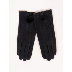 Rękawiczki kobiece czarne drobny futrzany pompon 23