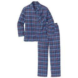 Piżama flanelowa bonprix niebieski + w kratę