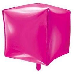 Balon foliowy sześcian ciemny różowy - 35 cm - 1 szt.