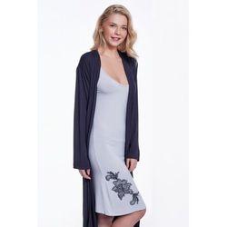Koszula nocna damska GLORIA ze szlafrokiem XL Czarny / Srebrny
