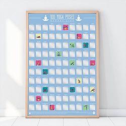 Plakat Zdrapka 100 pozycji Jogi, które trzeba wykonać
