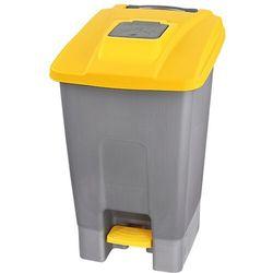 Kosz na śmieci 110l otwierany nogą z pokrywą żółtą