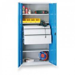 Metalowa szafa warsztatowa, 1950x950x500 mm, 2 półki, 10 szuflad