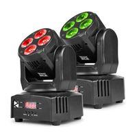 Pozostały sprzęt estradowy, Beamz MHL36 Moving Head Zestaw 2 projektorów LED 4 x dioda LED 9 W 4w1 RGBW 4 show świetlne kolor czarny