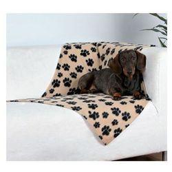 TRIXIE Koc polarowy dla małych psów i kotów 100x70cm kolor: beżowy w czarne łapki 37191 - kolor: beżowy w czarne łapki 37191