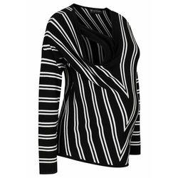 Sweter ciążowy i do karmienia piersią bonprix czarno-biały w paski