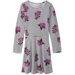 Sukienka z długim rękawem, wzorzysta bonprix czarno-biały wzorzysty