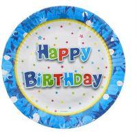 Naczynia jednorazowe, Talerzyki papierowe Happy Birthday Niebieskie - 18 cm - 6 szt.