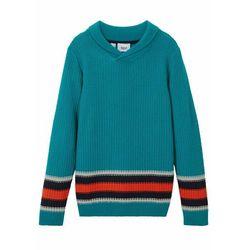 Sweter chłopięcy ze stójką bonprix ciemnoturkusowy