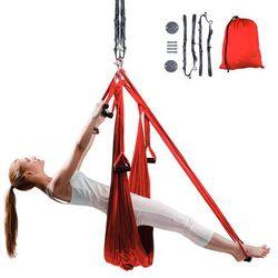 Antygrawitacyjny hamak do jogi inSPORTline Hemmok czerwony + pasy, wsporniki sufitowe i śruby mocujące