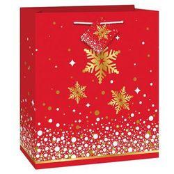 Torebka prezentowa ze śnieżynkami - 23 x 18 cm - 1 szt.