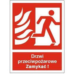 Znak Drzwi przeciwpożarowe. Zamykać! (w prawo)