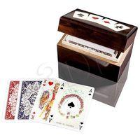 Gry dla dzieci, Karty do gry Piatnik 2 talie lux w pudełku drewnianym z asami