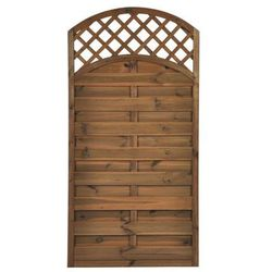Płot szczelny z łukiem i kratką 90x180 cm drewniany NIVE NATERIAL