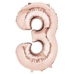 Balon foliowy cyfra trzy 3 złoty róż - 53 x 88 cm - 1 szt.