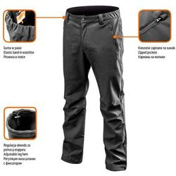 Spodnie robocze SOFTSHELL ocieplane czarne L NEO