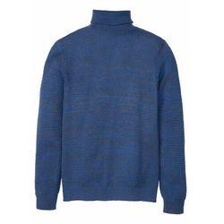 Sweter z golfem bonprix niebieski melanż