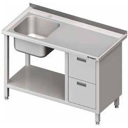 Stół ze zlewem jednokomorowym z lewej strony z blokiem dwóch szuflad i półką 1900x600x850 mm | STALGAST, 981006190