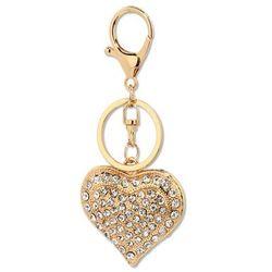Złoty breloczek - serduszko z kryształkami - złoty