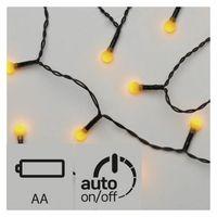 Ozdoby świąteczne, Lampki choinkowe EMOS 20 LED kulki 1.5m 2x AA IP20 Timer Żółty ZY1946