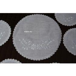 Komplet haftowanych serwetek 1+6 - haft biały (gs-10)