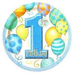 Talerzyki na roczek 1st Birthday Baloniki Blue - 18 cm - 8 szt