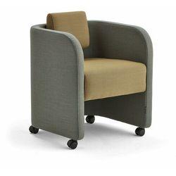 Fotel COMFY, na kółkach, wełna, turkusowy/złoty
