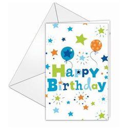 Zaproszenia urodzinowe Happy Birthday dla chłopca - 6 szt.