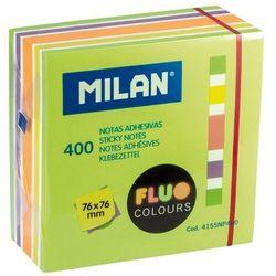 Karteczki samoprzylepne MILAN FLUO kostka, 76 x 76 mm, mix 5 kolorów, 400k. (4155NP400)