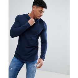 ASOS DESIGN Longline Muscle Sweatshirt With Curved Hem And Side Zips In Navy - Navy