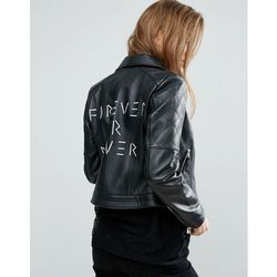 ASOS Ultimate Leather Biker Jacket with Diamond Quilting and Back Print - Black