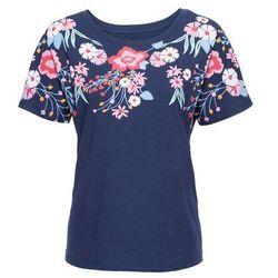 Shirt z nadrukiem, krótki rękaw bonprix kobaltowy
