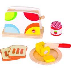 Drewniany toster w kolorowe grochy 10 el. Goki