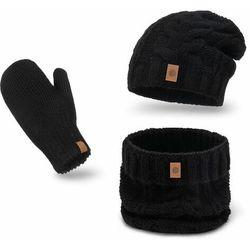 Ciepły zimowy komplet damski z rękawiczkami PaMaMi- Czarny