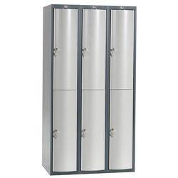 Szafa szatniowa Curve 3 sekcje 6 drzwi 1740x900x550 mm jasnoszary metal