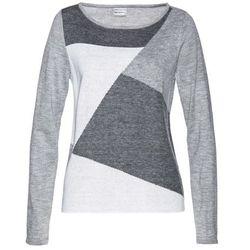 Sweter bonprix szaro-biel wełny