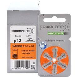 60 x baterie do aparatów słuchowych Power One Varta 13 MF