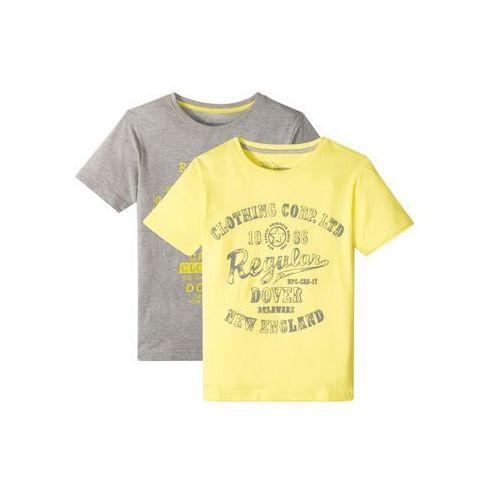 Koszulki z krótkim rękawkiem dziecięce, T-shirt chłopięcy (2 szt.) bonprix jasnoszary melanż + jasnożółty