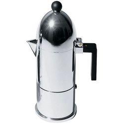 ALESSI LA CUPOLA Kawiarka do espresso z aluminium z czarną rączką, średnia