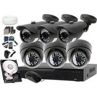 Zestawy monitoringowe, Kompletny zestaw monitoringu na 6 kamery jakość HD LV-AL20MT i LV-AL25MD Rejestrator LV-XVR84N Dysk 1TB Akcesoria